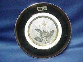 Traditional Beauty CHOKIN ART 6 Plate Saucer Lilies Flowers 24K Gold Tri... - $9.89