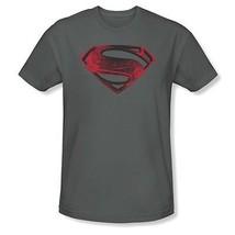 Autentico Superman Uomo D'Acciaio Rosso & Nero Glifo DC COMICS Film T Shirt - $19.63