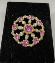 Gold Tone Pink Rhinestone & Faux Pearl Pin Brooch - $10.88