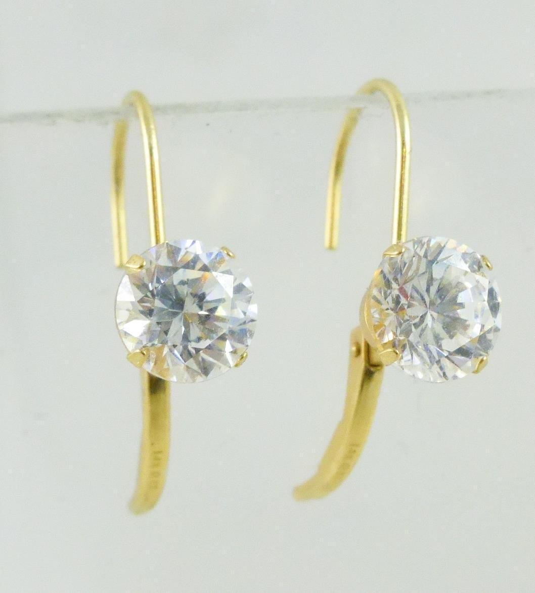14K Yellow GOLD Round cut Cubic Zirconia lever back EARRINGS - 1.8 grams