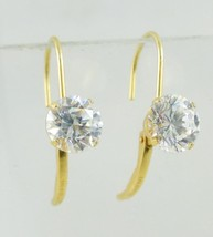 14K Yellow GOLD Round cut Cubic Zirconia lever back EARRINGS - 1.8 grams - $90.00