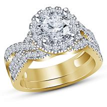 Round Diamond Womens Engagement Wedding Bridal Ring Set 14K Yellow Gold Finish - $92.99