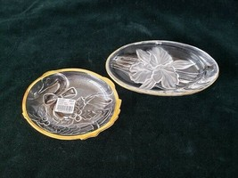 2 Mikasa  crystal glass gold trim candy sweet dishes - $16.83