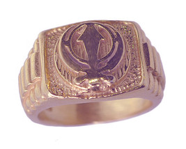 18K Rose Gold plated on Real Sterling Silver Sikh Khanda ring any size J... - $37.82