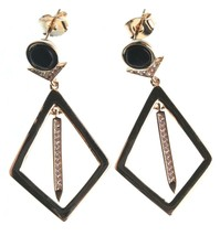 Edison 14K Yellow Gold Plated Kite Cubic Zirconia Crystal Black Stone Earrings image 2