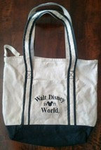Vintage Walt Disney World 1971 Large Canvas Tote Beach Bag. Black & Tan - $22.43