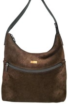 Gucci Shoulder Front Zip Pocket Brown Suede Leather Hobo Bag Authentic P... - $140.00