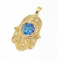 14k Gold Roman Glass Yemenite Filigree Hamsa Pendant Necklace 14k Gold H... - $545.00