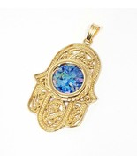 14k Gold Roman Glass Yemenite Filigree Hamsa Pendant Necklace 14k Gold H... - $545.00