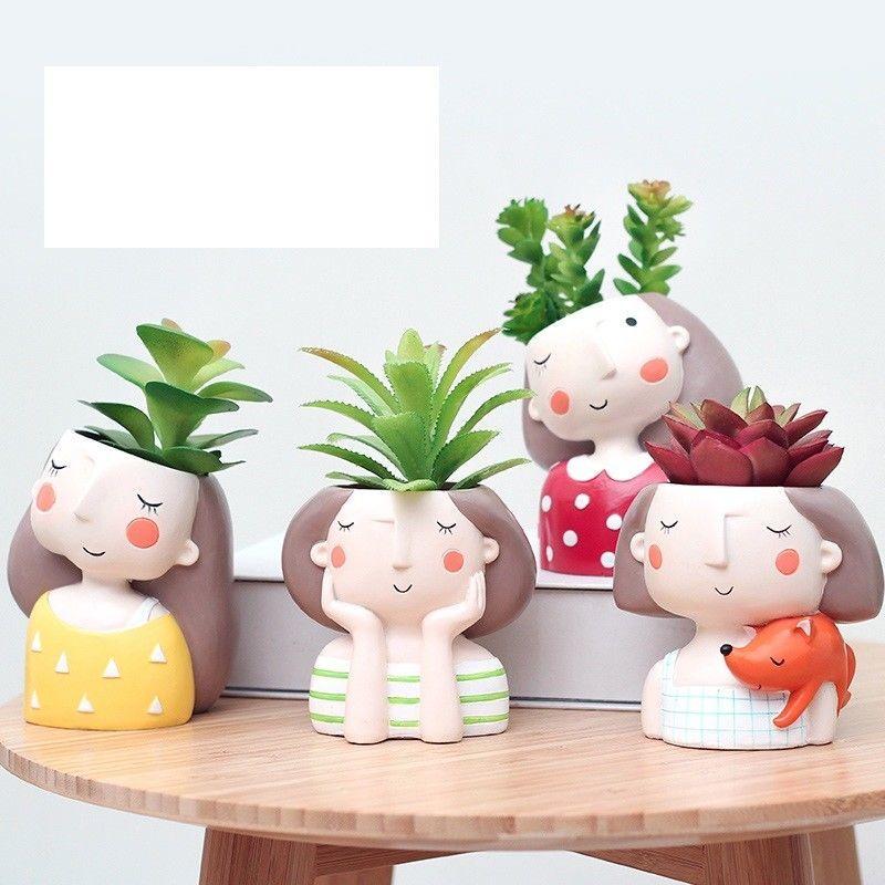 Succulent Plant Pot Cute Girl Planter Flowerpot Create Design Garden Home Bonsai