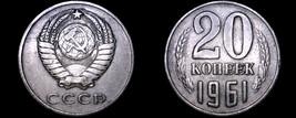 1961 Russian 20 Kopek World Coin - Russia USSR Soviet Union CCCP - $3.99