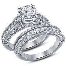 Womens Lab Diamond Bridal Ring Set 14k White Gold Finish 925 Sterling Si... - $98.99