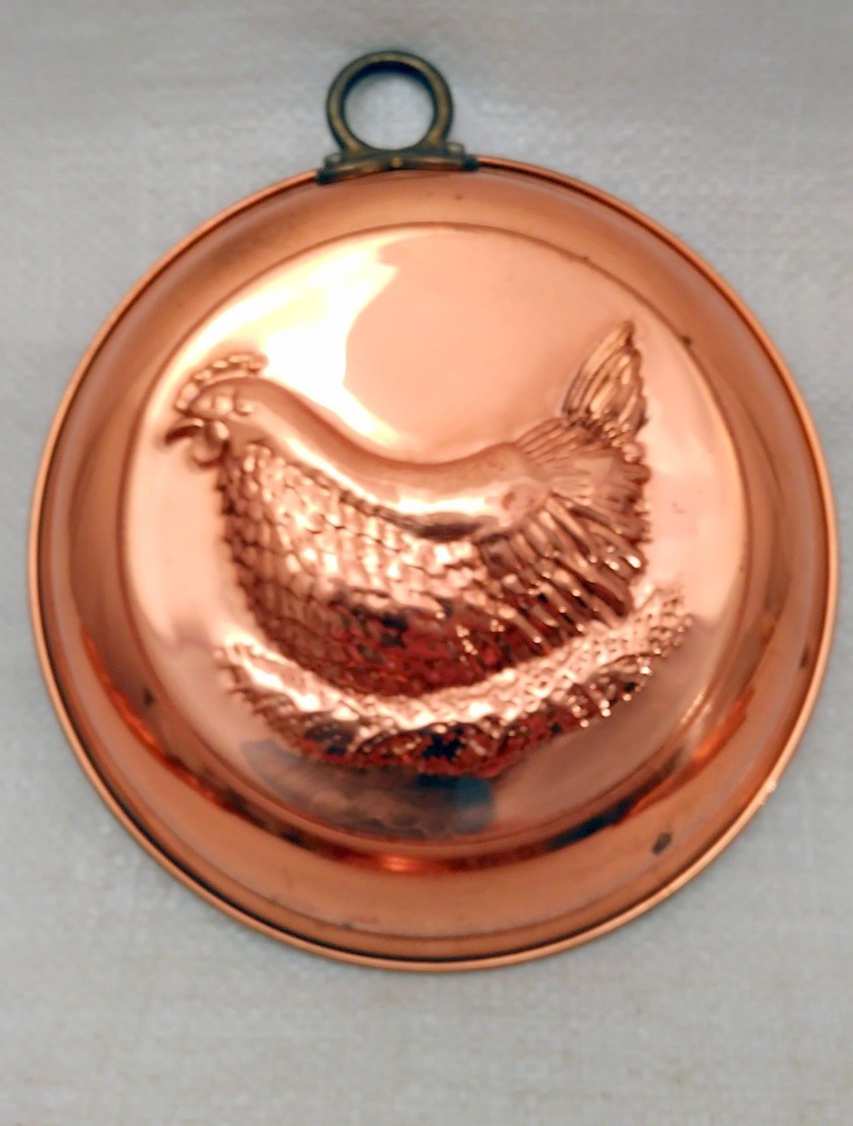 Vintage Extra Heavy Copper Jello Mold, Wall Hanging Decor Hen on Nest