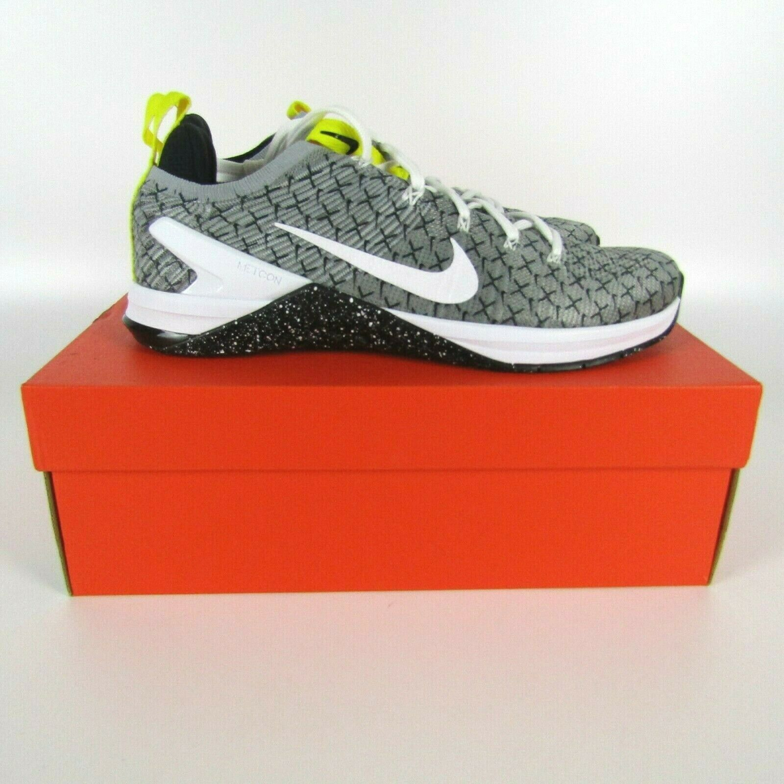 Nike Metcon DSX Flyknit 2X Mens Black White Yellow Training Running AO2807-017