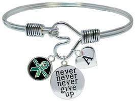 Custom Scoliosis Awareness Ribbon Never Give Up Bracelet Choose Initial Family - $17.66