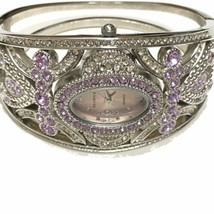Elgin II Watch Purple Rhinestone Birthstone Cuff Bracelet Jewelry Quartz Works - $32.71