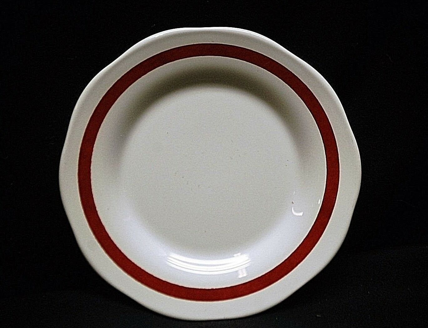 Vintage Pyroceram by Corning Restaurant Ware Bread & Butter Plate White & Maroon - $9.89