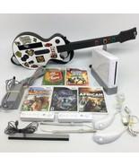 Nintendo Wii Bundle w/ 5 games, 2 Controllers, 1 Guitar, Star Wars video... - $140.24