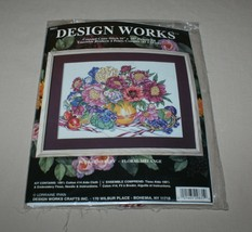 Design Works Floral Medley Counted Cross Stitch Kit 9831 Vase Flowers New - $14.80