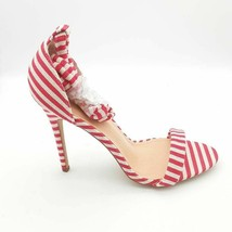 LILIANA Womens Heather-37 Sandal Stiletto Heels Red Striped Ankle Strap ... - $20.18