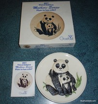 1977 3rd Annual Mothers Series Bas Relief Goebel PANDA PLATE + Box Gift For Mom! - $24.24