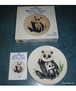 1977 3rd Annual Mothers Series Bas Relief Goebel PANDA PLATE + Box Gift ... - $24.24