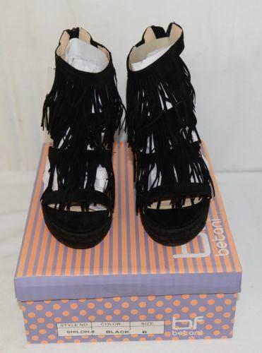 BF Betani Shiloh 8 Black Fringe Wedge Heel Sandals Size 6