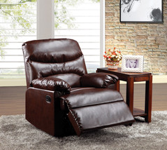 Brown Bonded Leather Recliner Living Room Furniture Padded Seat Chair Ar... - $240.68
