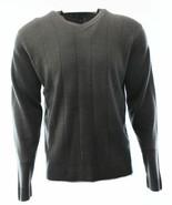 John Ashford Sweater Men's Charcoal Gray Solid Knit Needle V-Neck Pullover - $24.99