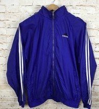 VTG Adidas Purple Track Jacket Zip Front Windbreaker Hooded White Stripe... - $30.28