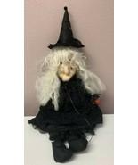 "Vintage Folk Art Halloween Witch Doll Pantyhose Handmade 30"" Prop OOAK - $58.05"