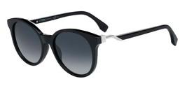 Fendi CUBE FF 0231/S 0807/9O Round Sunglasses Black/Grey Gradient NEW 52mm - $148.45
