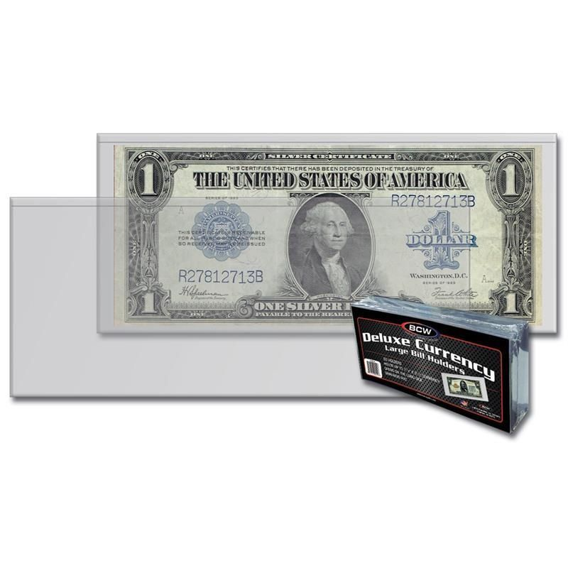 4 Packs (200) Bcw Deluxe Large Bill Currency Holder