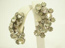 WEISS Clear SPARKLE Rhinestone Huggie Clip Earrings Silver Plate Vintage... - $21.77