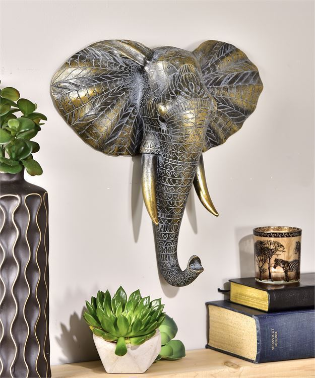 "14.7"" Elephant Head Design Wall Decor w Intricate Pattern Detailing NEW"
