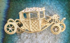 OAJC - Vintage Estate Sale Gold Finish Rhinestone Carriage Brooch OAJC - $33.00