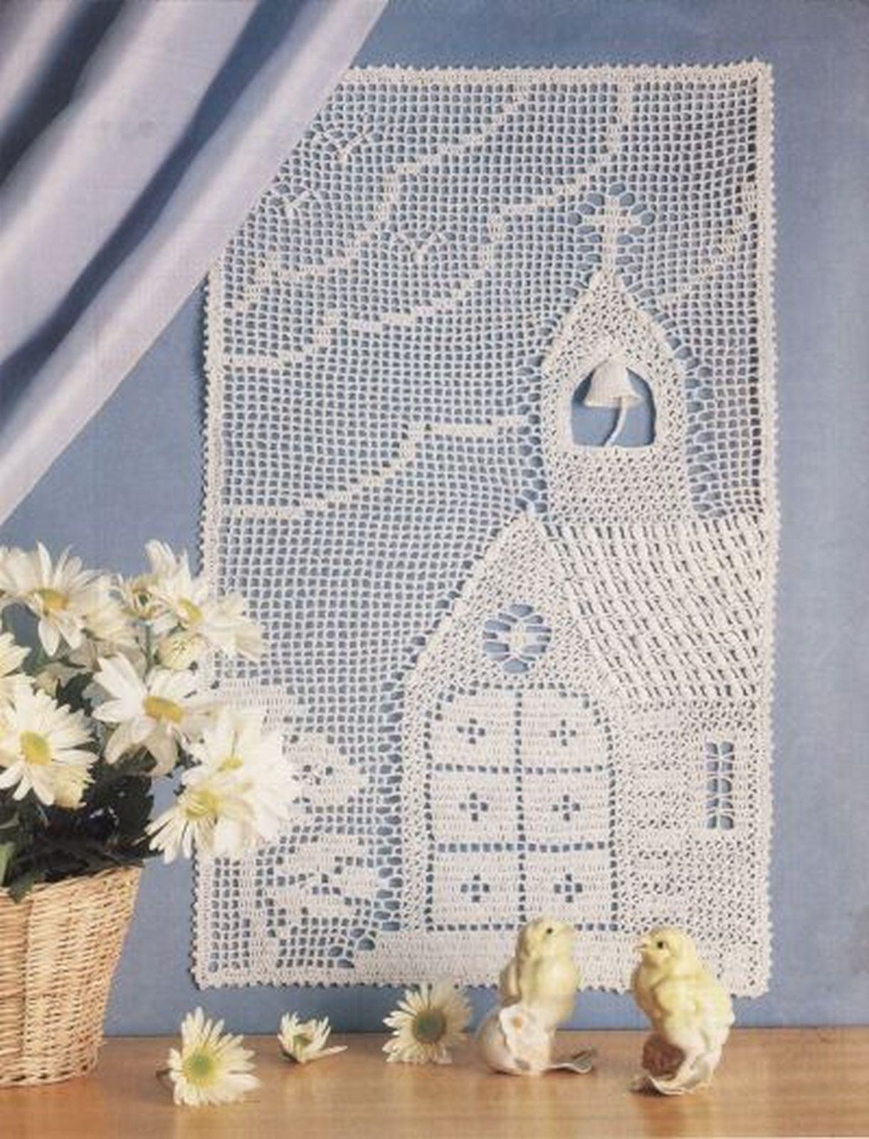 Country Chapel Wall Hanging Xmas Angel Mat Key Largo Curtain Crochet PATTERN