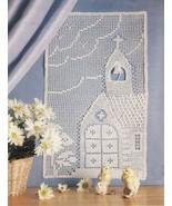 Country Chapel Wall Hanging Xmas Angel Mat Key Largo Curtain Crochet PAT... - $7.99