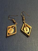 Vintage 70s Gold Diamond-shape Dangle Montana Agate Earrings image 3