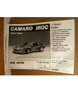 Owner's Manual Camaro IROC 1/16 Scale, RDC-16094, Nikko America, Inc. - $8.99