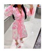 Fashion pink printed cardigan home wear bathrobe pajamas - $35.00