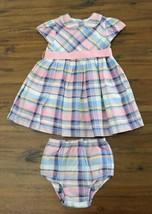 Ralph Lauren Girls 18 M Pastel Plaid Dress + Bloomers Party Easter Ribbo... - $25.71