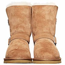 Kirkland Signature Ladies Chestnut Brown Sheepskin Shearling Winter Buckle Boot image 3