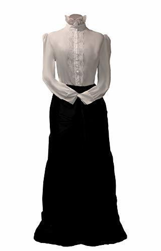 Edwardian Historical Cosplay Costume Skirt Blouse and Belt Set (S/M, Black)