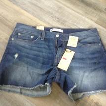Levi's stretch frayed hem Shorts Women's sz 31 12 new nwt denim jean - $22.13
