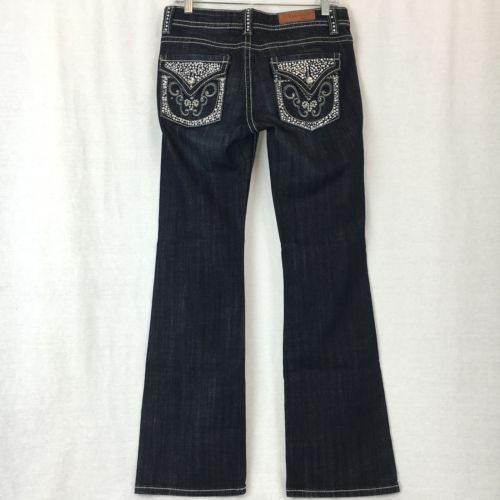 Vigoss Studio Womens Jeans Boot Cut Flare Low Rise Dark Wash Stretch Size 5/6