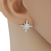 UE-Delicate Silver Tone Designer Earrings With Embedded Swarovski Style ... - $14.99