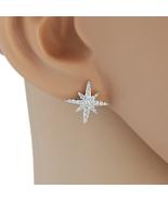 UE-Delicate Silver Tone Designer Earrings With Embedded Swarovski Style ... - $14.99