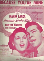 1952 Because Your Mine from Movie Mario Lanza Antique & Vintage Sheet Music - $7.95