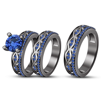 His Her Wedding Blue Sapphire Trio Ring Set 14k Black Gold Over 925 Soli... - $141.89